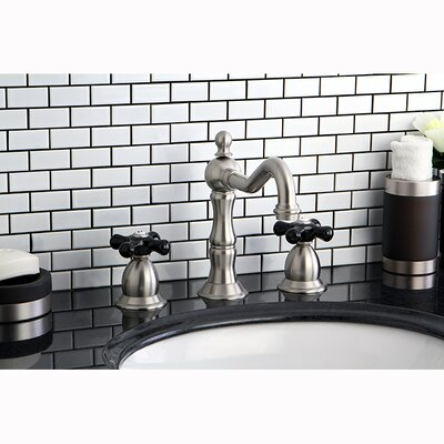 Heritage Onyx Double Handle Widespread Bathroom Faucet with Pop-Up Drain Finish: Satin Nickel
