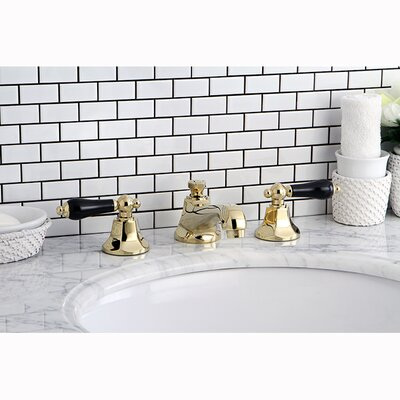 Metropolitan Onyx Double Handle Widespread Bathroom Faucet with Pop-Up Drain Finish: Polished Brass