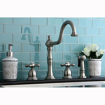 Heritage Double Handle Widespread Kitchen Faucet with Side Spray Finish: Satin Nickel