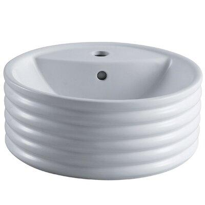 Tower Ceramic Circular Vessel Bathroom Sink with Overflow