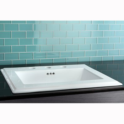 Concord Ceramic Rectangular Drop-In Bathroom Sink with Overflow Faucet Mount: 8 Centers