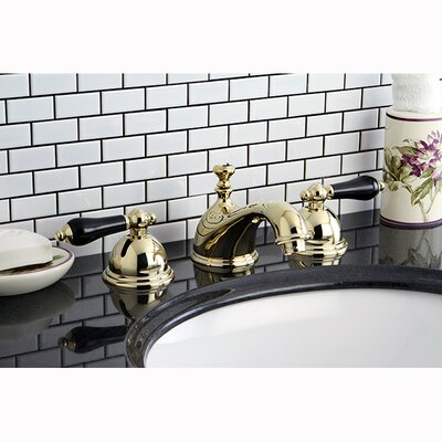 Restoration Onyx Double Handle Widespread Bathroom Faucet with Pop-Up Drain Finish: Polished Brass