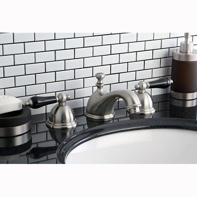 Restoration Onyx Double Handle Widespread Bathroom Faucet with Pop-Up Drain Finish: Satin Nickel