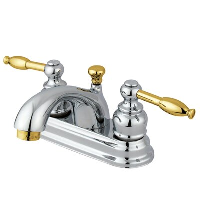 Knight Double Handle Centerset Bathroom Faucet with ABS Pop-Up Drain Finish: Polished Chrome/Polished Brass