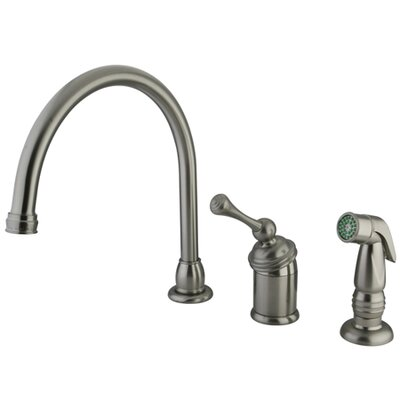 Buckingham Single Handle Kitchen Faucet with Spray Finish: Satin Nickel