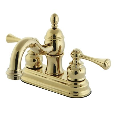 Vintage Double Handle Centerset Bathroom Faucet with ABS Pop-Up Drain Finish: Polished Brass
