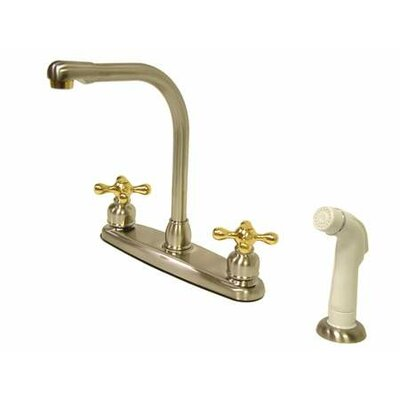 Victorian Double Handle CentersetHigh Arch Kitchen Faucet with White Spray Finish: Satin Nickel/Polished Brass