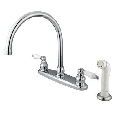 Vintage Double Handle Goose Neck Kitchen Faucet with Sprayer Finish: Polished Chrome