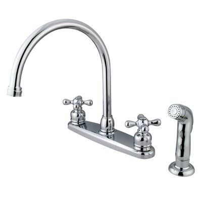 Vintage Double Handle Goose Neck Kitchen Faucet with Spray Finish: Polished Chrome