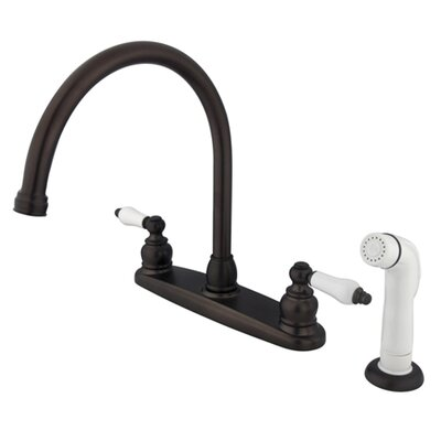 Vintage Double Handle Goose Neck Kitchen Faucet with Sprayer Finish: Oil Rubbed Bronze
