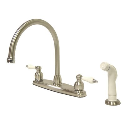 Vintage Double Handle Kitchen Faucet with Side Spray Finish: Satin Nickel/Polished Brass