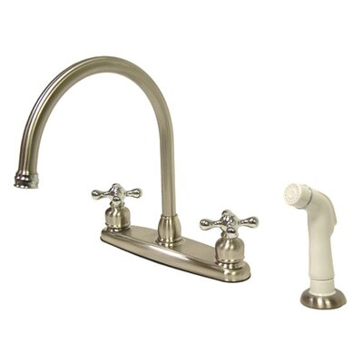 Vintage Double Handle Goose Neck Kitchen Faucet with Sprayer Finish: Satin Nickel/Polished Chrome