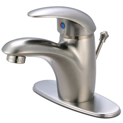 Wilton Single Handle Bathroom Faucet with ABS Pop-Up Drain and Deck Plate Finish: Satin Nickel