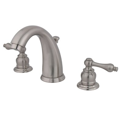 Victorian Double Handle Widespread Bathroom Faucet with Brass Pop-Up Drain Finish: Satin Nickel