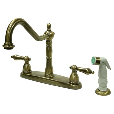 Heritage Double Handle Centerset Kitchen Faucet with Non-Metallic Spray Finish: Polished Chrome