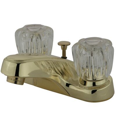 Americana Double Handle Centerset Bathroom Faucet with Brass Pop-Up Drain Finish: Polished Brass
