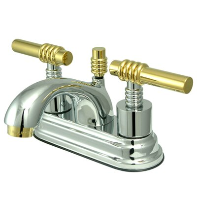 Royale Double Handle Centerset Bathroom Faucet with Brass Pop-Up Drain Finish: Polished Chrome/Polished Brass