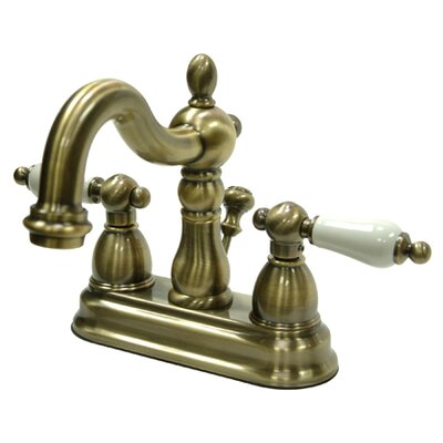 Heritage Double Handle Centerset Bathroom Faucet with ABS Pop-Up Drain Finish: Vintage Brass