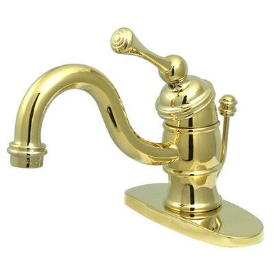Victorian Single Handle Bathroom Faucet with Brass Pop-Up Drain Finish: Polished Brass