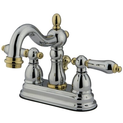 Heritage Double Handle Centerset Bathroom Faucet with ABS Pop-Up Drain Finish: Polished Chrome/Polished Brass