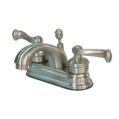 Royale Double Handle Centerset Bathroom Faucet with Brass Pop-Up Drain Finish: Satin Nickel