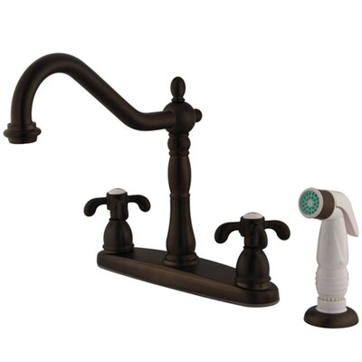 French Country Double Handle Centerset Kitchen Faucet with Spray Finish: Oil Rubbed Bronze