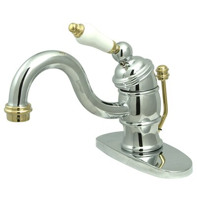 Victorian Single Handle Bathroom Faucet with Brass Pop-Up Drain Finish: Polished Chrome/Polished Brass