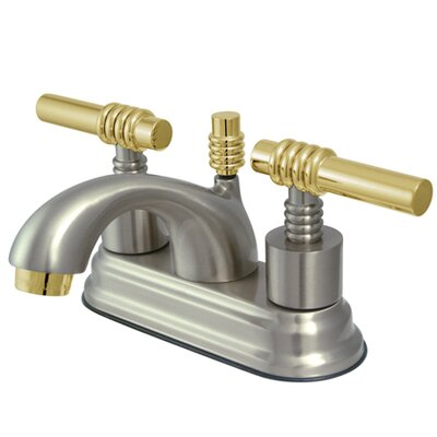 Royale Double Handle Centerset Bathroom Faucet with Brass Pop-Up Drain Finish: Satin Nickel/Polished Brass