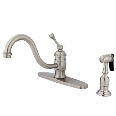 Vintage Single Handle Kitchen Faucet with Brass Sprayer Finish: Satin Nickel