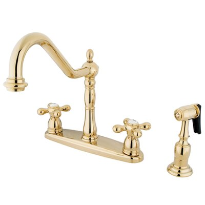 Heritage Double Handle Centerset Kitchen Faucet with Side Spray Finish: Polished Brass