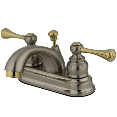 Vintage Double Handle Centerset Bathroom Faucet with ABS Pop-Up Drain Finish: Satin Nickel/Polished Brass