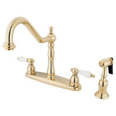 Heritage Double Handle Kitchen Faucet with Side Spray Finish: Polished Brass