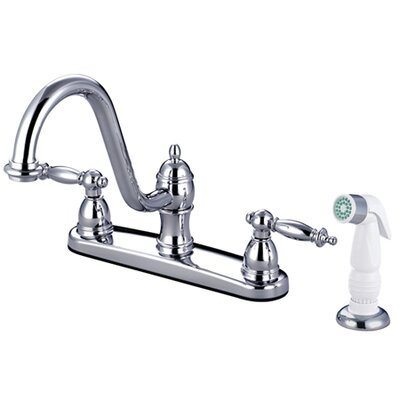 Templeton Double Handle Centerset Kitchen Faucet with White Spray Finish: Polished Chrome
