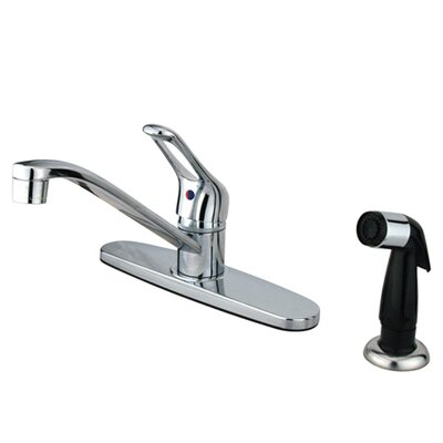 Wyndham Single Handle Kitchen Faucet with Sprayer Finish: Polished Chrome