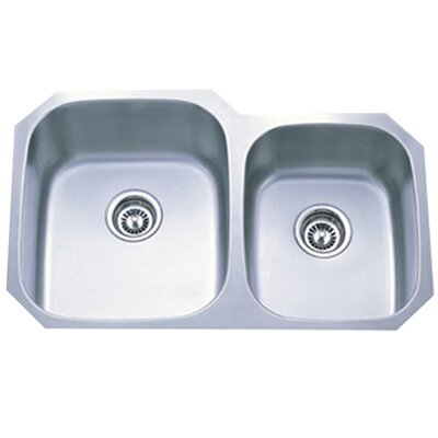 Loft 20.5 x 31.75 Gourmetier Undermount Double Bowl Kitchen Sink