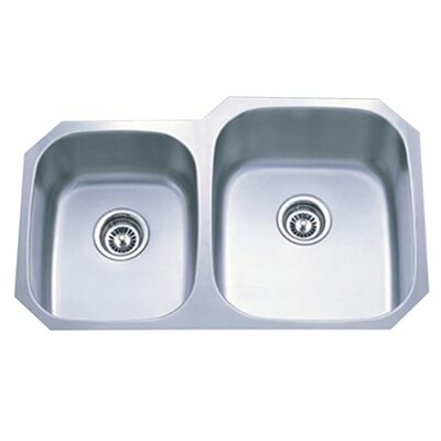 Loft 31.75 x 20.5 Gourmetier Undermount Double Bowl Kitchen Sink