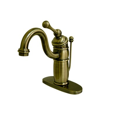 Victorian Single Handle Mono Deck Bathroom Faucet with Brass Pop-Up Drain Finish: Vintage Brass
