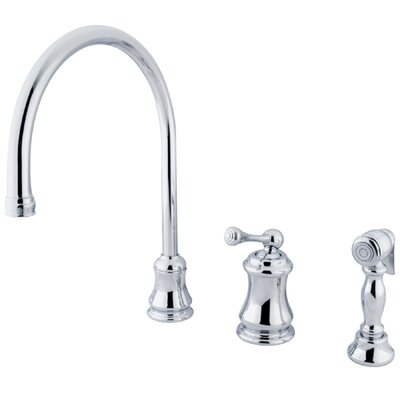 Restoration Single Handle Widespread Kitchen Faucet Side Spray: With Spray, Finish: Polished Chrome