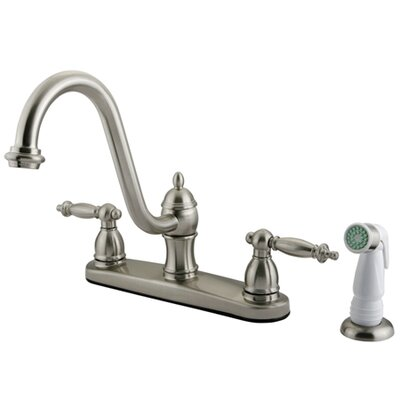 Templeton Double Handle Centerset Kitchen Faucet with White Spray Finish: Satin Nickel