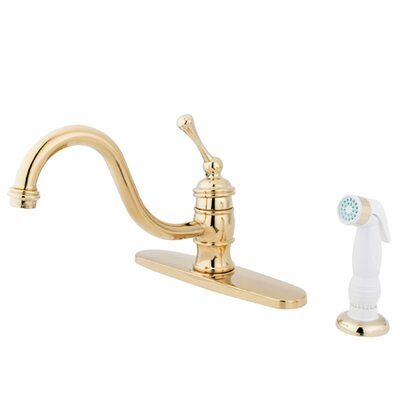 Vintage Single Handle Kitchen Faucet with Non-Metallic Sprayer Finish: Polished Brass