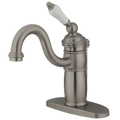 Victorian Single Handle Mono Deck Bathroom Faucet with Brass Pop-Up Drain  and Optional Deck Plate Finish: Satin Nickel