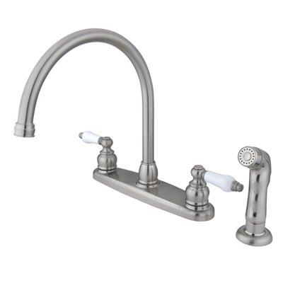 Vintage Double Handle Goose Neck Kitchen Faucet with Spray Finish: Satin Nickel