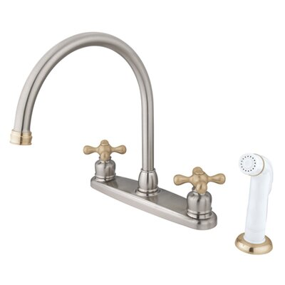 Vintage Double Handle Goose Neck Kitchen Faucet with Sprayer Finish: Satin Nickel/Polished Brass