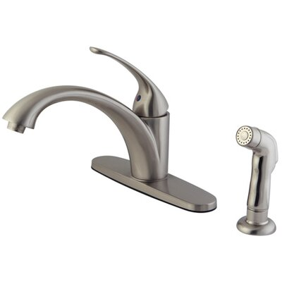 Vintage Single Handle Kitchen Faucet With Non-Metallic Spray Finish: Satin Nickel