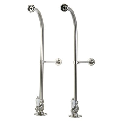 Vintage Freestanding Water Supplies with Stop Finish: Satin Nickel