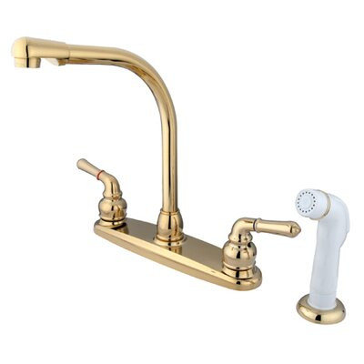 Magellan High Arch Kitchen Faucet with Sprayer Finish: Polished Brass