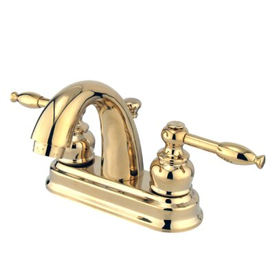 Knight Double Handle Centerset Bathroom Faucet with ABS Pop-Up Drain Finish: Polished Brass