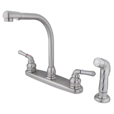 Magellan Double Handle Centerset Kitchen Faucet with Sprayer Finish: Satin Nickel