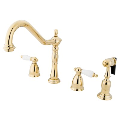 Heritage Double Handle Widespread Kitchen Faucet with Sprayer Finish: Polished Brass
