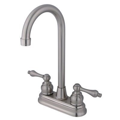 Victorian Double Handle Centerset High-Arch Bar Faucet Finish: Satin Nickel
